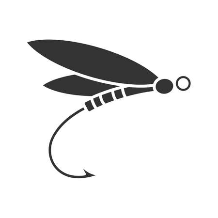 Fly fishing glyph icon. Insect bait. Dragonfly lure. Silhouette symbol. Negative space. Vector isolated illustration