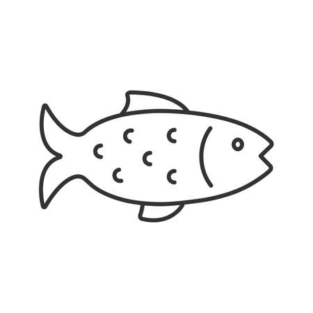 魚の線形アイコン。細線のイラスト。釣り。等高線記号。ベクトル分離アウトライン描画