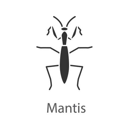 Praying mantis glyph icon. Mantodea. Insect. Silhouette symbol. Negative space. Vector isolated illustration Vettoriali