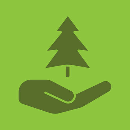 Open hand with fir tree glyph color icon. Silhouette symbol. Saving forests. Negative space. Vector isolated illustration