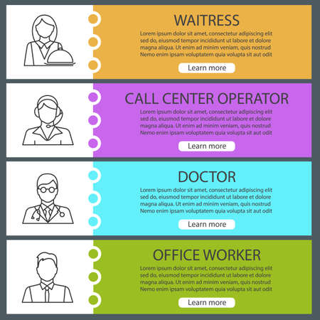 Professions web banner templates set. Waitress, call center operator, doctor, office worker. Website color menu items with linear icons. Vector headers design concepts