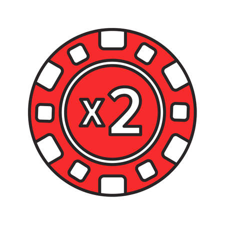 Double down casino chip color icon. 2x gambling token. Black jack. Isolated vector illustration Illustration