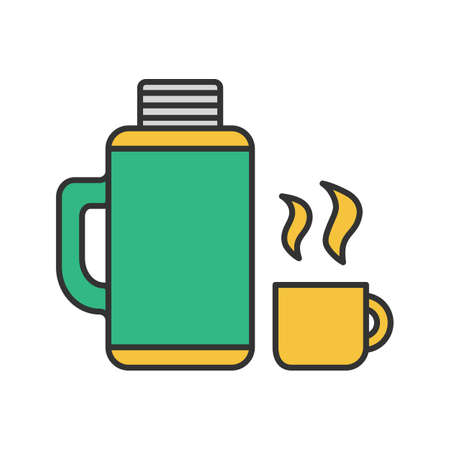 Thermos with cup color icon. Hot drink. Isolated vector illustration
