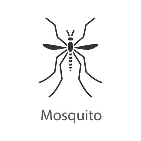 Mosquito glyph icon. Insect. Midge, gnat. Silhouette symbol. Negative space. Vector isolated illustration