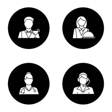 Berufe Glyphe Icons Set. Berufe. Arzt, Callcenter-Betreiber, Barkeeper, Kellnerin. Vector weiße Schattenbildillustrationen in den schwarzen Kreisen Vektorgrafik