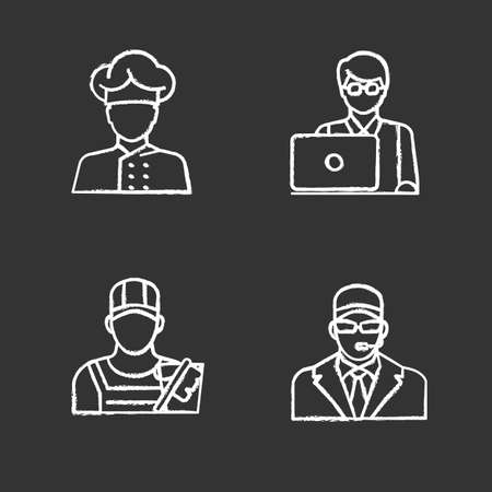 Professions chalk icons set. Occupations. Bodyguard, cleaner, IT technologist, freelancer, cook. Isolated vector chalkboard illustrations