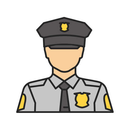 Policeman color icon. Police officer. Isolated vector illustration 向量圖像