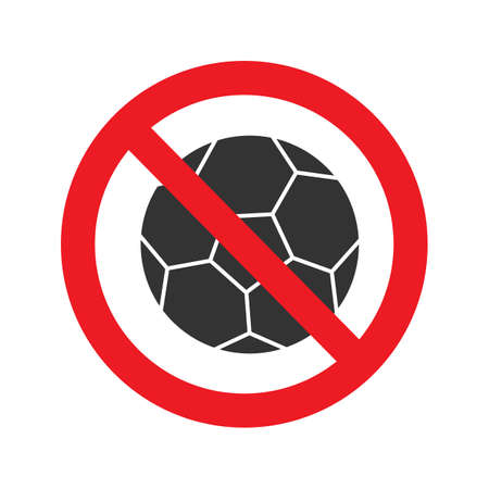 Forbidden sign with football ball glyph icon. No ball games prohibition. Stop silhouette symbol. Negative space. Vector isolated illustration