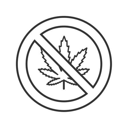 Forbidden sign with marijuana leaf linear icon. Thin line illustration. No cannabis. Stop contour symbol. Vector isolated outline drawing Illustration