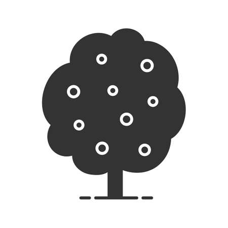 Fruit tree glyph icon. Silhouette symbol. Negative space. Vector isolated illustration