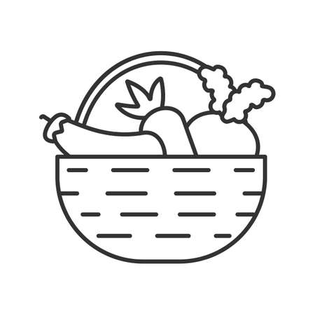 Basket with vegetables linear icon. Autumn harvest. Carrot, eggplant, beetroot. Thin line illustration. Contour symbol. Vector isolated outline drawing