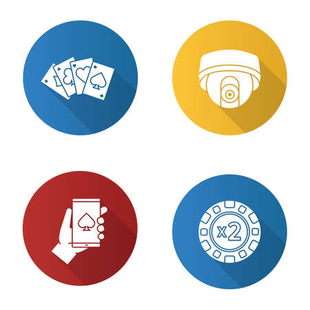 Casino flat design long shadow glyph icons set. Doubledown chip, four aces, surveillance camera, online casino. Vector silhouette illustration