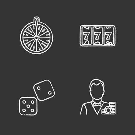 Casino chalk icons set. Roulette, lucky seven game, dice, croupier. Isolated vector chalkboard illustrations Illustration