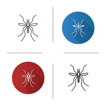 Mosquito icon. Flat design, linear and color styles. Insect. Midge, gnat. Isolated vector illustrations