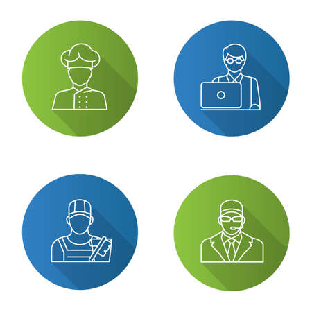 Professions flat linear long shadow icons set. Occupations. Bodyguard, cleaner, IT technologist, freelancer, cook. Vector outline illustration