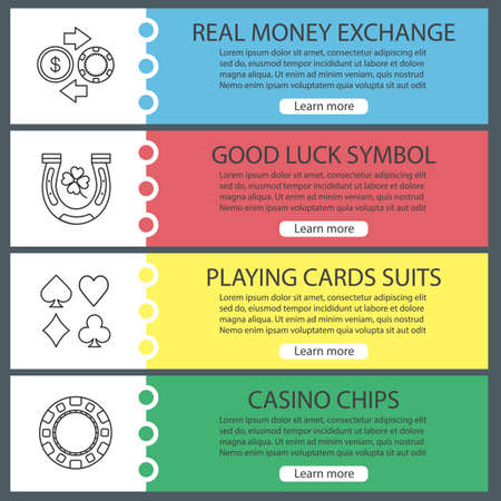 Casino web banner templates set. Real money exchange, good luck symbol, playing cards suits, casino chip. Website color menu items with linear icons. Vector headers design concepts