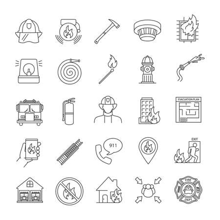 Firefighting linear icons set. Fire station equipment. Thin line contour symbols. Isolated vector outline illustrations Illustration