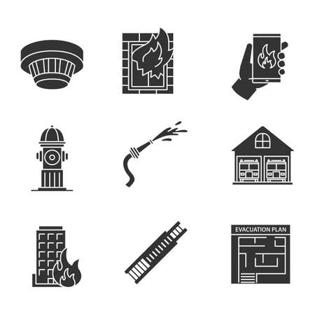 Firefighting glyph icons set. Smoke detector, emergency call, hydrant, burning building, hose, evacuation plan, fire station, double extension ladder. Silhouette symbols. Vector isolated illustration