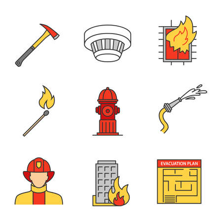 Firefighting linear icons set. Hose, burning matchstick, smoke detector, evacuation plan, hydrant, axe, building on fire, firefighter. Thin line contour symbols. Isolated vector outline illustrations Illustration