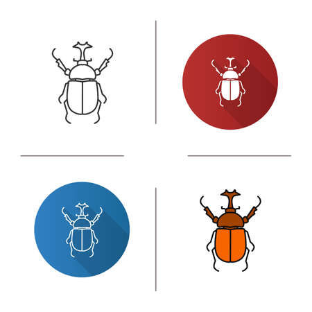 Hercules beetle icon. Flat design, linear and color styles. Isolated vector illustrations 向量圖像