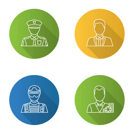 Professions flat linear long shadow icons set. Occupations. Policeman, soldier, croupier, office worker. Vector outline illustration Banque d'images - 98217533