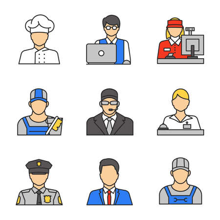 Profession avatars colored icons set