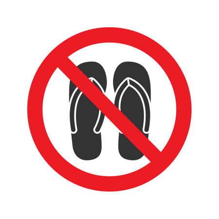 Forbidden sign with slippers glyph icon. No sandals, thongs or open toed footwear. Without shoes. Stop silhouette symbol. Negative space. Vector isolated illustration Illustration