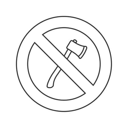 Forbidden sign with axe linear icon