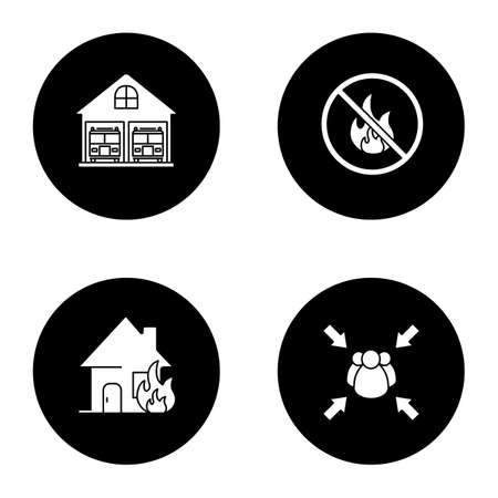 Firefighting glyph icons set. Burning house, fire station, fire assembly point, bonfire prohibition. Vector white silhouettes illustrations in black circles Stock Vector - 98713239