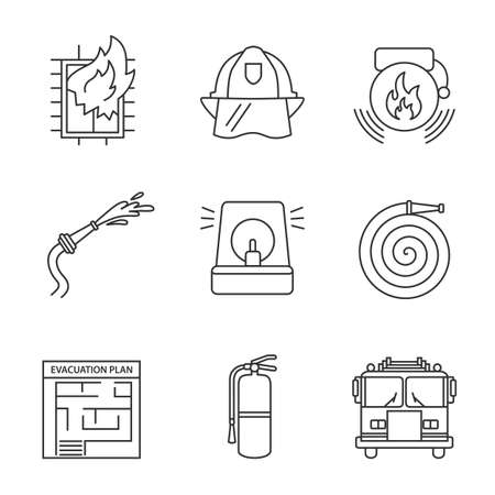 Firefighting linear icons set. Hard hat, fireman siren, alarm bell, hose, firefighter engine, extinguisher, evacuation, house on fire. Thin line contour symbols. Isolated vector outline illustrations