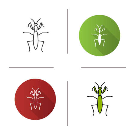 Praying mantis icon. Flat design, linear and color styles. Mantodea. Insect. Isolated vector illustrations