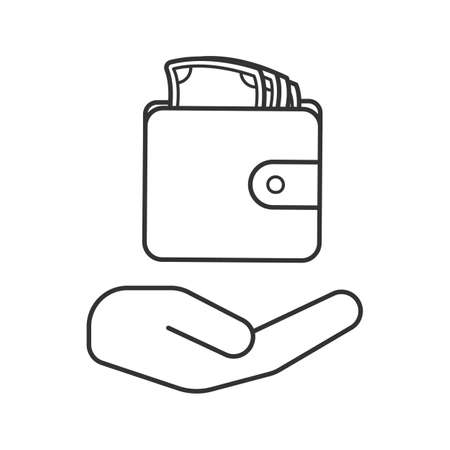 Open hand with wallet and money linear icon. Cash loan. Thin line illustration. Money saving. Contour symbol. Vector isolated outline drawing