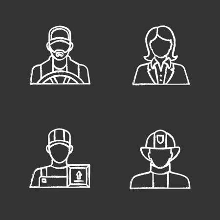 Professions chalk icons set. Firefighter, loader man, secretary, office worker, driver. Isolated vector chalkboard illustrations Illustration