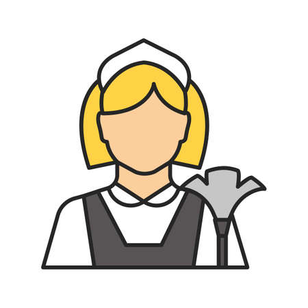 Maid color icon. Cleaner. Housekeeping. Isolated vector illustration Çizim