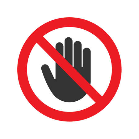 Forbidden sign with stop hand glyph icon. No entry prohibition. Do not touch. Silhouette symbol. Negative space. Vector isolated illustration
