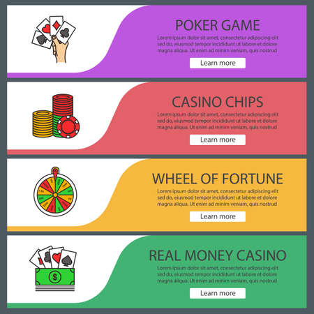 Casino web banner templates set. Poker, casino chips, wheel of fortune, real money game. Website color menu items. Vector headers design concepts Illustration