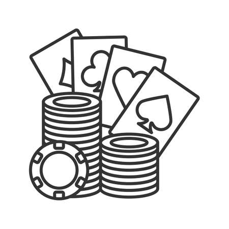 Casino chips stack with playing cards linear icon. Poker. Thin line illustration. Casino contour symbol. Vector isolated outline drawing Illustration