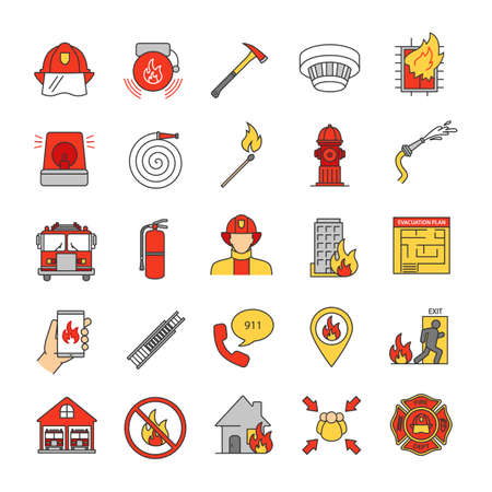 Firefighting color icons set. Fire station equipment. Isolated vector illustrations