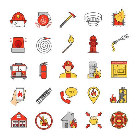 Brandbestrijding kleur pictogrammen instellen. Apparatuur voor brandweerkazernes. Geïsoleerde vectorillustraties Vector Illustratie