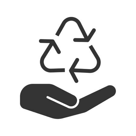 Open hand with recycling sign glyph icon. Pollution prevention. Silhouette symbol. Waste recycling. Negative space. Vector isolated illustration