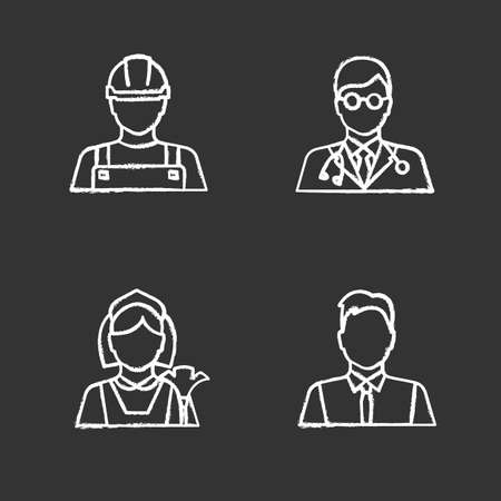 Professions chalk icons set. Occupations. Builder, doctor, maid, showman, office worker. Isolated vector chalkboard illustrations