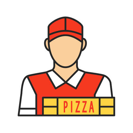 Pizza deliveryman color icon. Delivery service. Isolated vector illustration