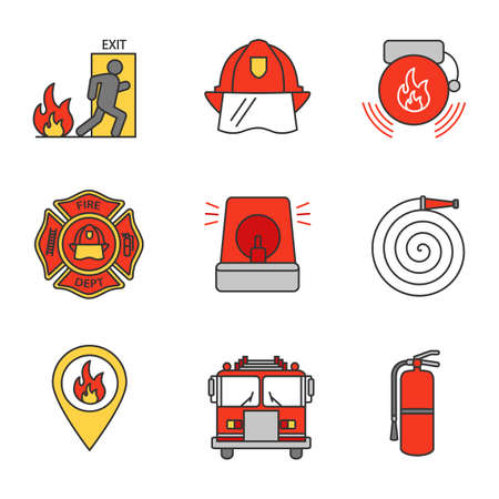 Firefighting color icons set. Emergency exit, hard hat, alarm bell, fireman siren, fire location, extinguisher, firetruck, firefighter's badge, hose. Isolated vector illustration