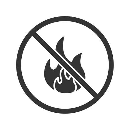 Forbidden sign with fire glyph icon. No bonfire prohibition. Silhouette symbol. Negative space. Vector isolated illustration Illustration