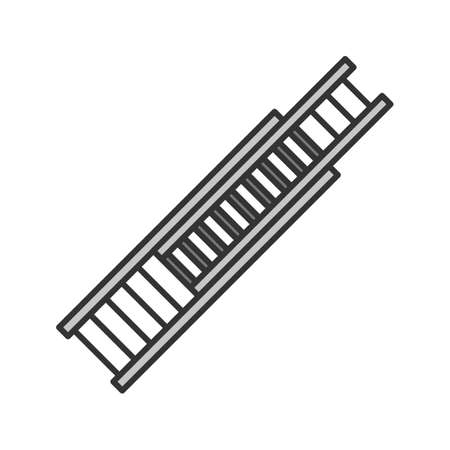 Double extension ladder color icon. Firefighting equipment isolated vector illustration. Illustration