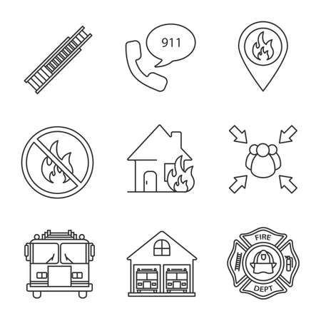 Firefighting linear icons set. Double extension ladder, emergency call, burning house, assembly point, firefighter badge, fire location. Thin line contour symbol isolated vector outline illustration.