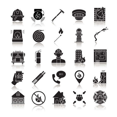 Firefighting drop shadow black glyph icons set. Fire station equipment. Isolated vector illustrations