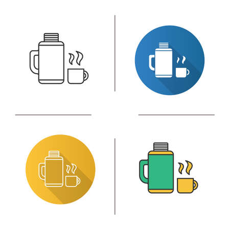 A Thermos with cup icons set. Flat design, linear, black and color styles. Hot drink. Isolated vector illustrations