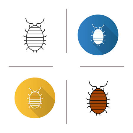 Woodlouse icon. Flat design, linear and color styles. Roll up bug. Sowbug. Isolated vector illustrations Vettoriali