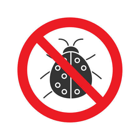 Forbidden sign with ladybug glyph icon Vector isolated illustration Illustration